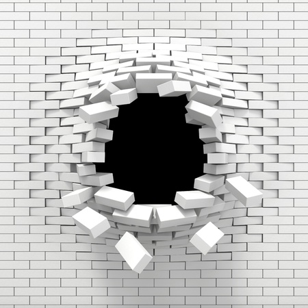 rebuild: Destruction of a white brick wall Stock Photo