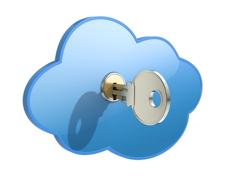 computer key: Cloud computing concept Stock Photo