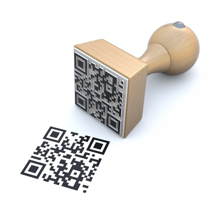 quick response: Rubber stamp with QR code