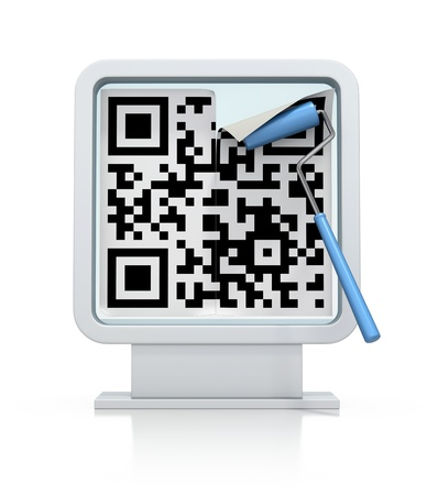quick response code: 3D concept with abstract QR code on billboard Stock Photo