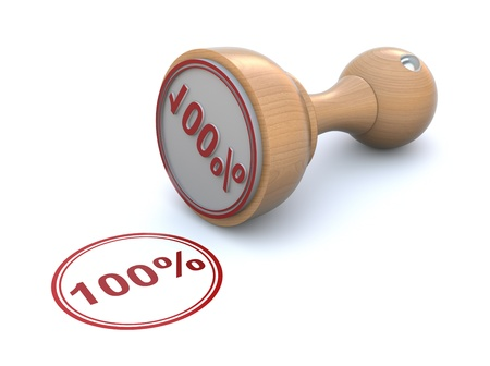 percentage: Rubber stamp - 100% Stock Photo