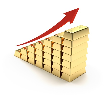 stock market charts: 3D concept with gold bars and graph Stock Photo