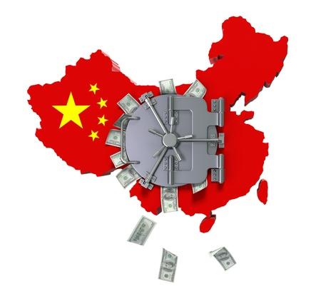 mapa china: Concepto 3D con billetes falsos de los b�veda y d�lar Foto de archivo