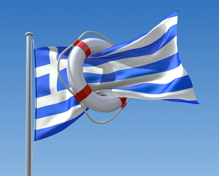 lifebuoy: Greek crisis concept Stock Photo