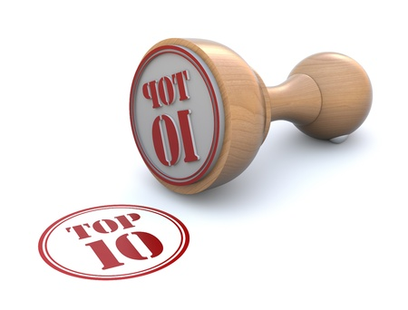 trompo de madera: Sello de goma - top ten Foto de archivo