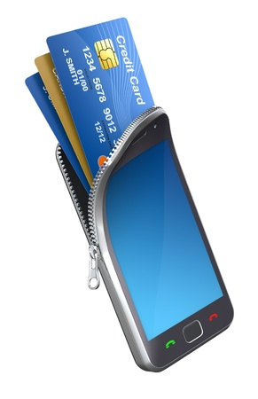 Credit cards in the mobile phone photo