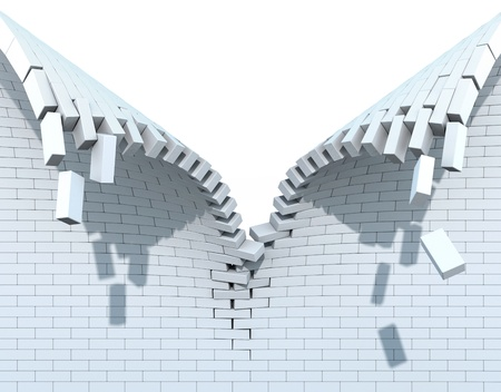 explodindo: Destrui��o de uma parede de tijolo branca Banco de Imagens