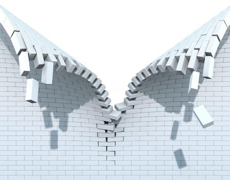 pared rota: La destrucci�n de una pared de ladrillo blanco