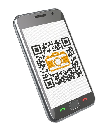 quick response: 3D concept with smartphone and QR code with the camera icon