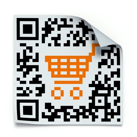 qrcode: 3D concept with QR code label with the shopping cart
