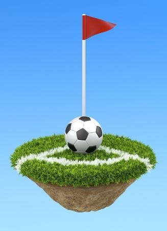 Soccer ball on the corner photo