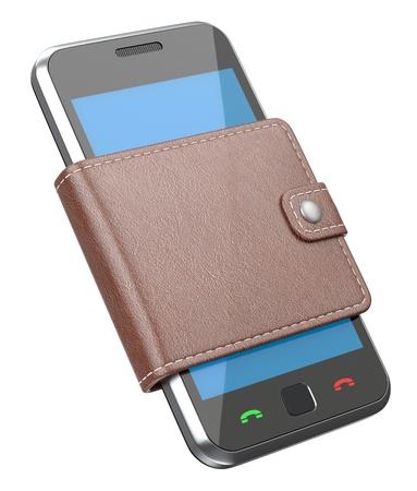 Mobiele telefoon aan in de portefeuille Stockfoto