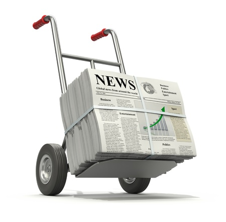 newspaper headline: Fresh newspaper. 3D concept with pile of newspapers with lorem ipsum text and hand truck.