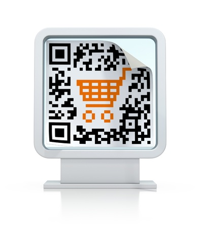QR code with shopping cart on the billboard   photo