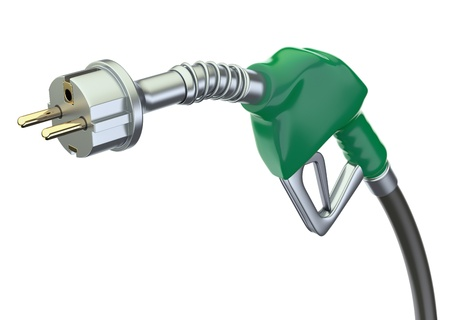 biodiesel: Gas pump nozzle with electric plug Stock Photo
