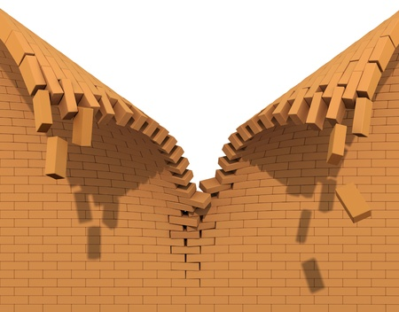 destroy: Destruction of a red brick wall Stock Photo