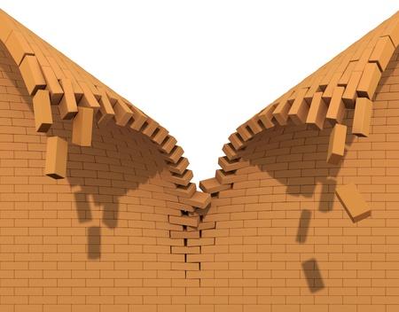 Zerstörung einer roten Backsteinmauer