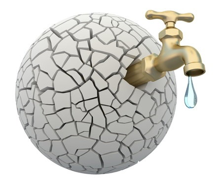 Drought-3D concept with faucet and cracked earth