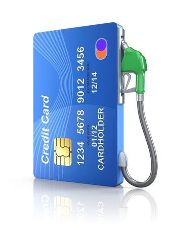 credit card purchase: Credit card with gas nozzle
