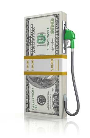 fuel economy: Dollar stack with gas nozzle