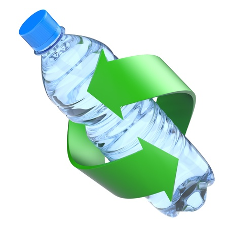 recycle symbol: Plastic bottle recycling concept Stock Photo