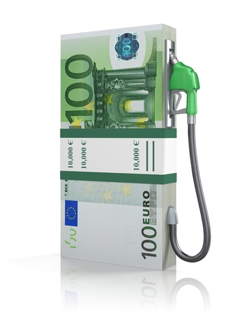 fuel economy: Euro stack with gas nozzle Stock Photo
