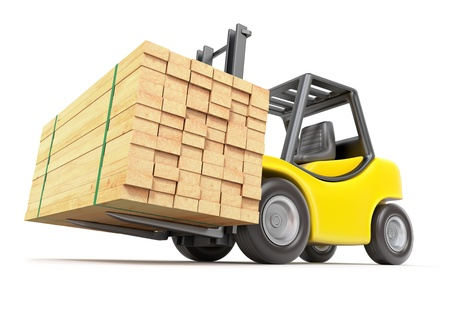 Forklift with stacked lumber photo