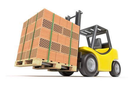 white brick: Forklift with hollow clay blocks Stock Photo