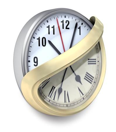 modernization: Modernization-3D concept with wall clock Stock Photo