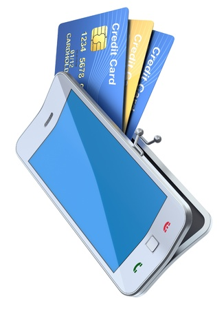 Credit cards in the  smartphone purse  photo