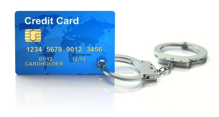 handcuffs: Credit card with handcuffs 3D concept