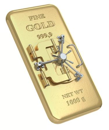 3D concept with gold bar and vault door