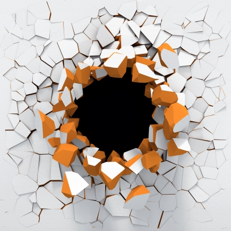 pared rota: Destrucci�n de una pared blanca