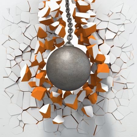 ball and chain: Wrecking ball destroying white brick wall