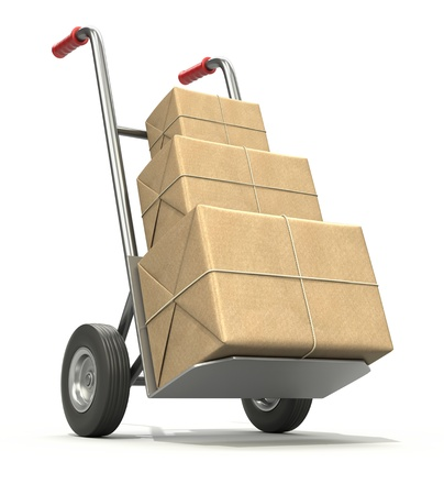 Hand truck with three post packages Stock Photo - 16597953