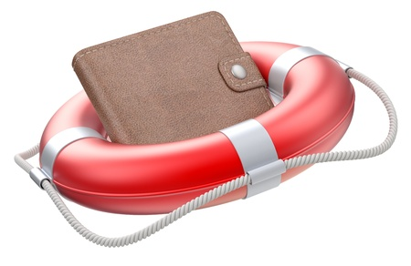 business survival: Wallet in the lifebuoy