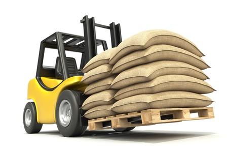 coffee sack: Forklift with sacks