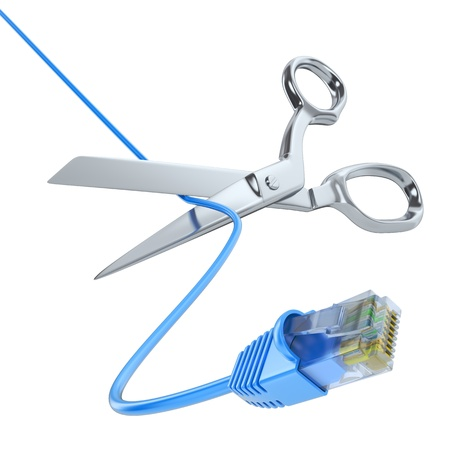 network cable: Scissors cutting the network cable