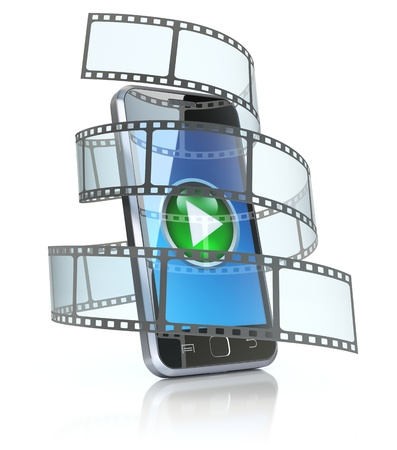 Mobile phone and film Stock Photo - 17123728