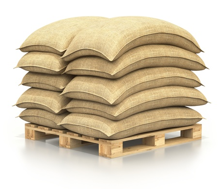 burlap: Sacks on the pallet