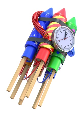 time bomb: Fireworks rockets with the clock