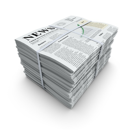 newspaper headline: Newspapers stack Stock Photo
