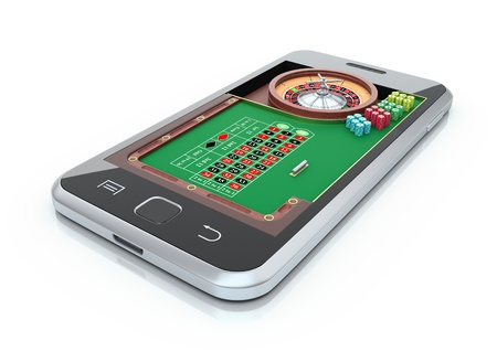 casino wheel: Roulette table in the mobile phone Stock Photo