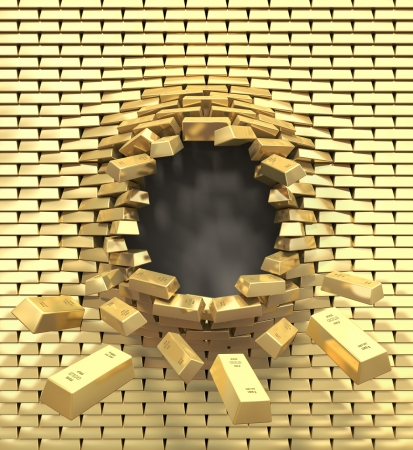 destroy: Destruction of a golden wall Stock Photo