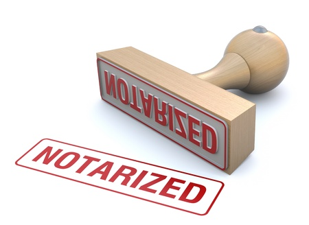 Rubber stamp-notarized Stock Photo