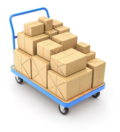 package sending: Trolley with post packages Stock Photo
