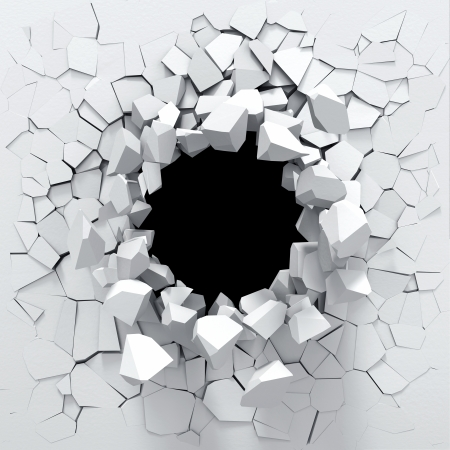 cracked wall: Destruction of a white wall