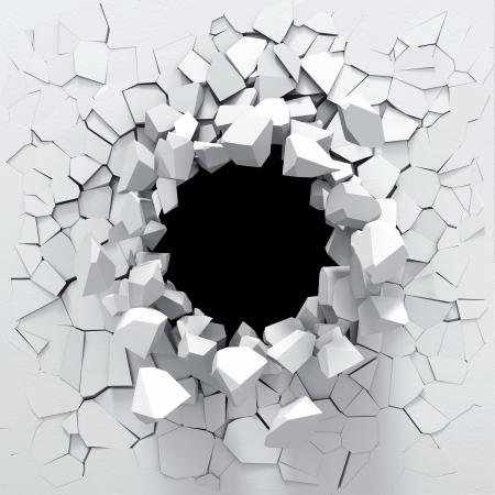 Zerstörung einer weißen Wand Standard-Bild