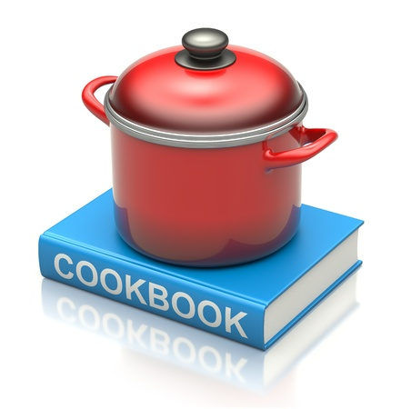 recipe book: Cookbook and red pan