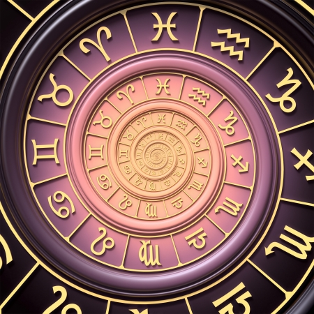 wheel of fortune: Zodiac spiral Stock Photo